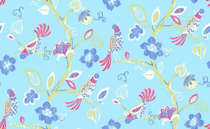 Paradise (M0739) - Albany Wallpapers - A beautiful illustration of birds of paradise nestling amidst the branches of a tropical forest. Showing in cornflower blue - more colours are available. Please request a sample for true colour match.