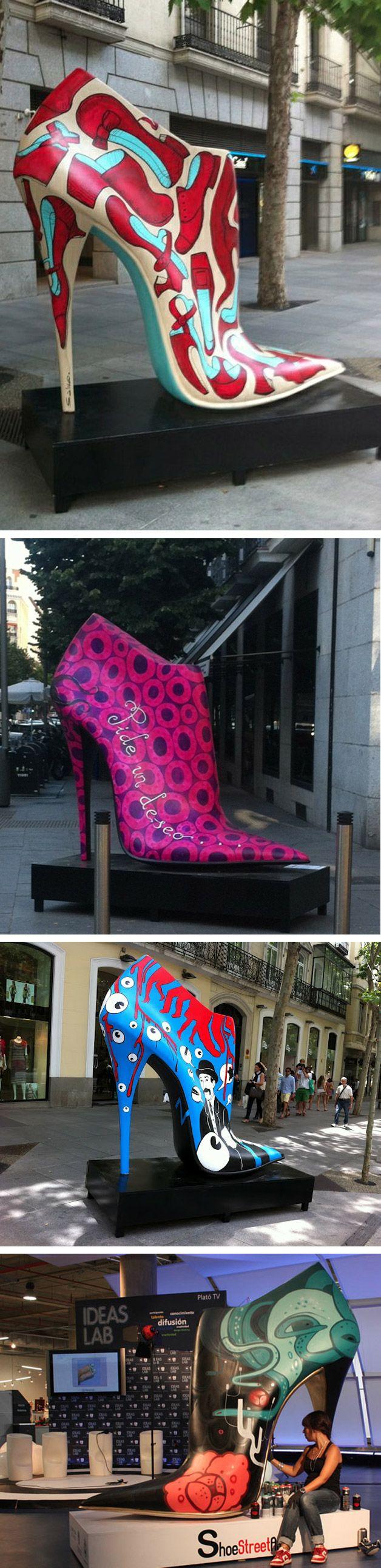 Diversos artistas espanhóis utilizaram técnicas de pintura, grafite e colagem para criar diferentes tipos de sapatos gigantes que foram espalhados pelas ruas de Madrid na exposição Shoe Street Art. A mostra é uma forma de homenagear a indústria local de sapatos e dar espaço para a criação dos artistas locais.        via...