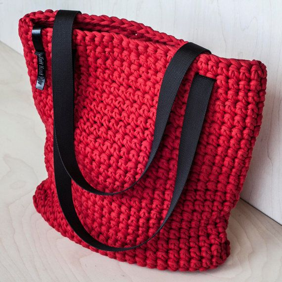 Red Crochet Tote Bag