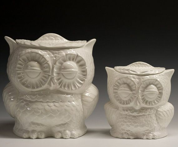 Set of 2 Owl cookie jars from vintage molds  by apiecebydenise, $100.00
