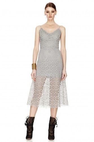 Grey Crocheted Lace Midi Dress - PNK Casual