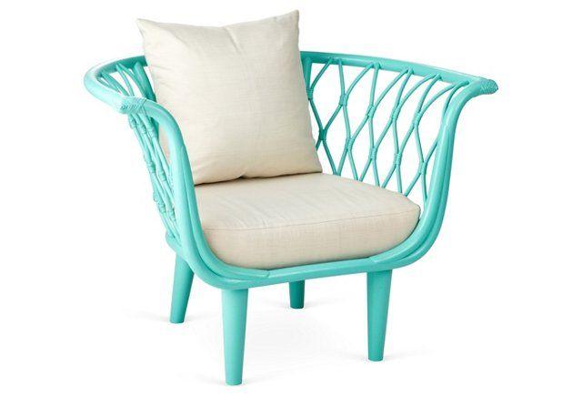 Amsterdam Rattan Bucket Chair, Sea Glass