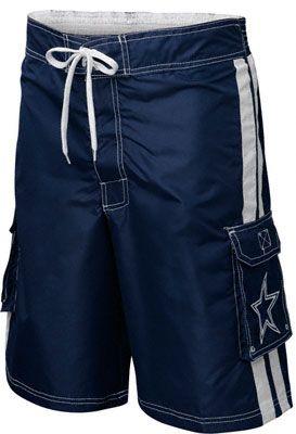Dallas Cowboys Navy Striped Cargo Swim Trunks Swim Suit