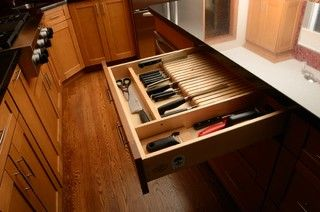 """""""Built In"""" Knife Block Drawer for all your odd knives!"""