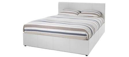 #Tuscany 4ft Small Double White Faux Leather #Ottoman #Bed Frame