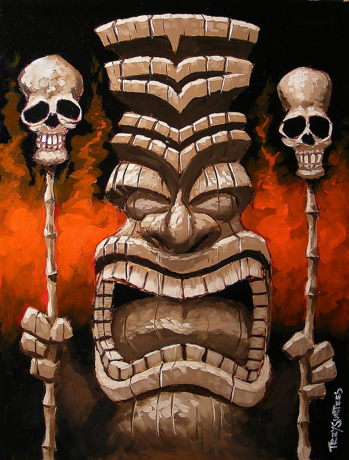 Tiki Art | Fire Tiki Painting by Trey Surtees - Fire Tiki Fine Art Prints and ...