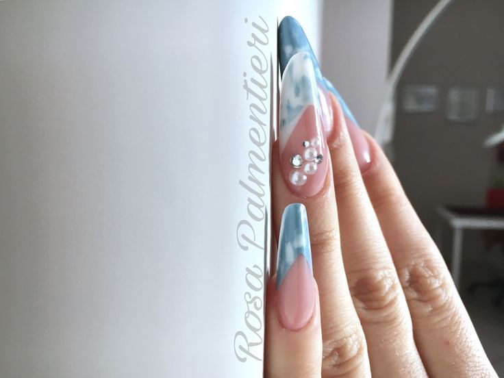Almond shape - gel system - sky effect. By Rosa Palmentieri (FB: Rosa Palmentieri Instagram: @rosapalm Twitter: @rosapalment YouTube: Rosa PALM) #extremenails #lovenails #nails #rosapalmentieri #longnails #acrynails #unghie #nailsart #nailspassion #fashionails #style #nailsoftheday #beautiful #acrylicnails #stylish #styles #nailart #art #photoftheday #nailaddicted #naildesign #bestnails #unghie #stiletto #modernstiletto #frenchnails #dragqueen #passioneunghie