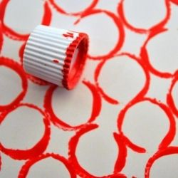 Colorfully original stamped designs using ordinary objects: a button, wine cork or toothpaste tube cap.