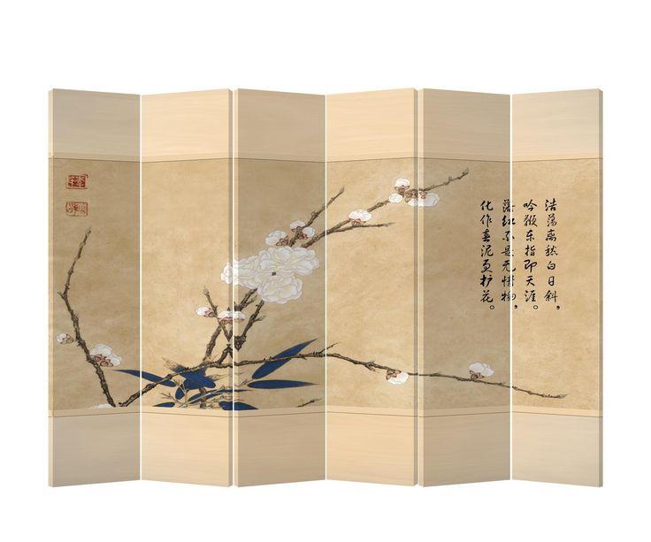 Chinees Kamerscherm 6 Panelen Bloem Canvas - Orientique.nl - Asian Living