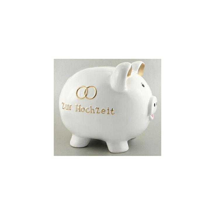 Eine tolle Geschenkidee für das Brautpaar.  Das Hochzeits-Sparschwein ist aus hart gebranntem Porzellan gefertigt.  Das Sparschwein zur Vermählung ist eines der beliebtesten Geldgeschenke.