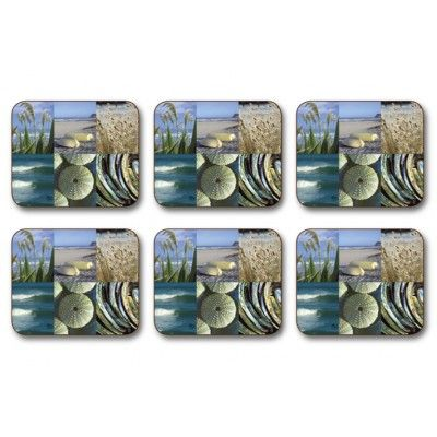 Coasters Coastal Snapshot. Six quality Jason placemats feature the Coastal Snapshot design depicting images from New Zealand's coastal beaches, Kina-New Zealand sea urchin shell and New Zealand Paua or Abalone shell. Protect furnature from staining and scratching with these coasters. Simply wipe with a damp cloth and dry with a soft cloth and they will stand the test of time. Heat resistant up to 110oC or 225oF. Matching placemats available.  See more at www.entirelynz.co.nz/gifts