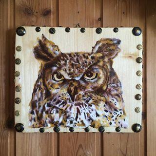 Nuovo quadretto in legno ❤️ gufo dipinto interamente a mano. Lo trovate sulla nostra pagina fb Le Creazioni di Anaron il Pellegrino. #legno #wood #creation #painting #pittura #gufo
