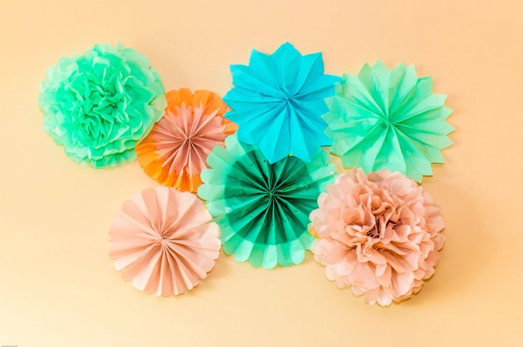 Mint and peach poms
