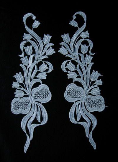 VT71 Mirror Pair Bow Tulip Flowers Venice Venise Applique Motif - Click Image to Close