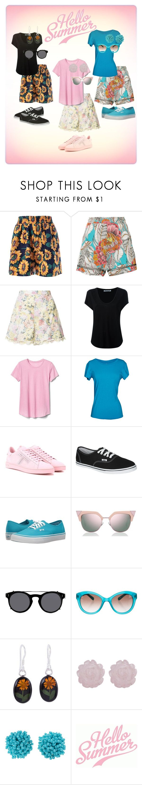 """""""Hello Summer"""" by theitalianparisian ❤ liked on Polyvore featuring Trina Turk, Zimmermann, Alexander Wang, Gap, Velvet by Graham & Spencer, Tod's, Vans, Fendi, Valentino and Kate Spade"""
