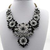 Yazilind Luxury Alloy Clear Crystal Black Rhinestone Flower Statement Necklace - http://tonysgifts.net/2015/02/10/yazilind-luxury-alloy-clear-crystal-black-rhinestone-flower-statement-necklace/