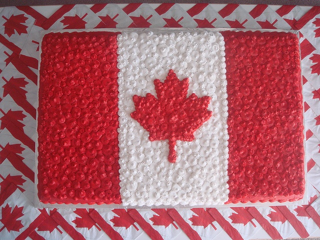 Canadian flag cake, to go with the 4th of July plates, cups and napkins :) for my little dual sweetie
