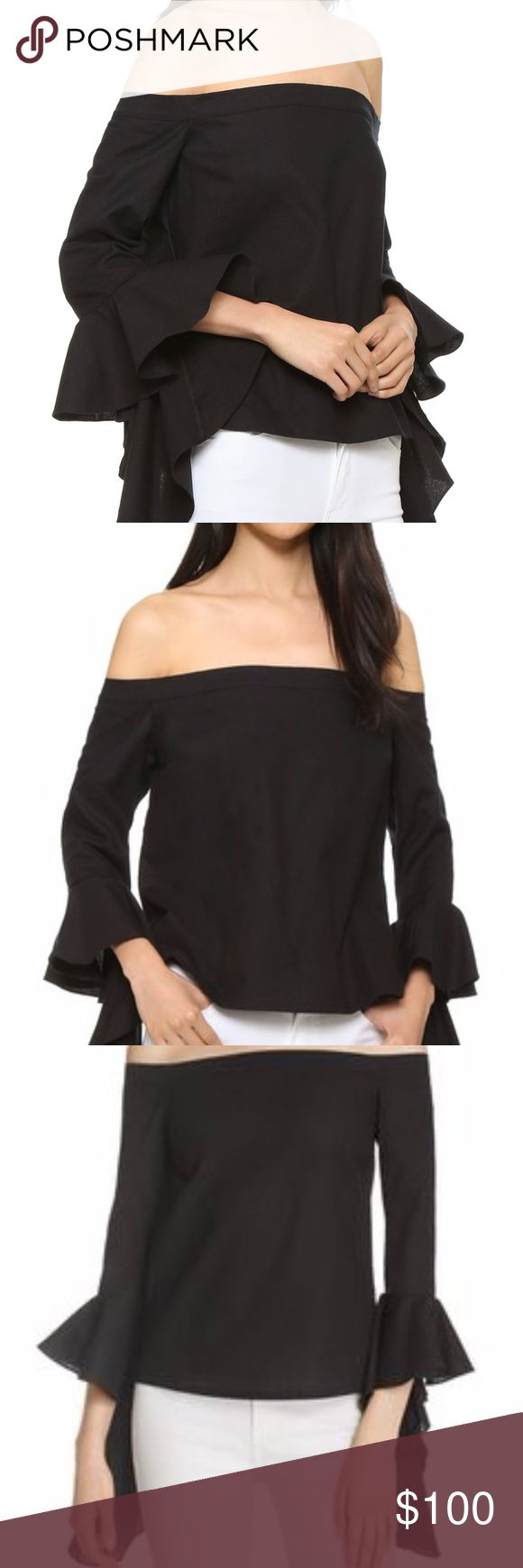 WORN ONCE - MLM LABEL Essential Top | Size Small Worn once Small  This crisp MLM LABEL top cuts a chic off-shoulder silhouette with bold, ruffled sleeves. Covered elastic section at back neckline.  Fabric: Poplin. 100% cotton. Wash cold or dry clean. MLM Tops Blouses