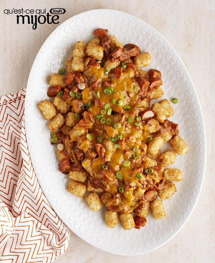 « Nachos » au chili, au fromage et aux saucisses à hot dog #recette