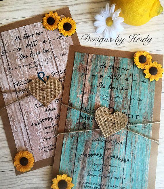 Rustic sunflower invitations-wedding invitations by DesignsbyHeidy