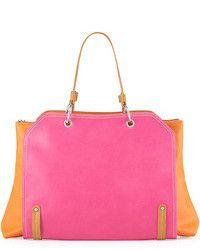 Neiman Marcus Jillian Tonal Faux Leather Tote Bag Pinkorange
