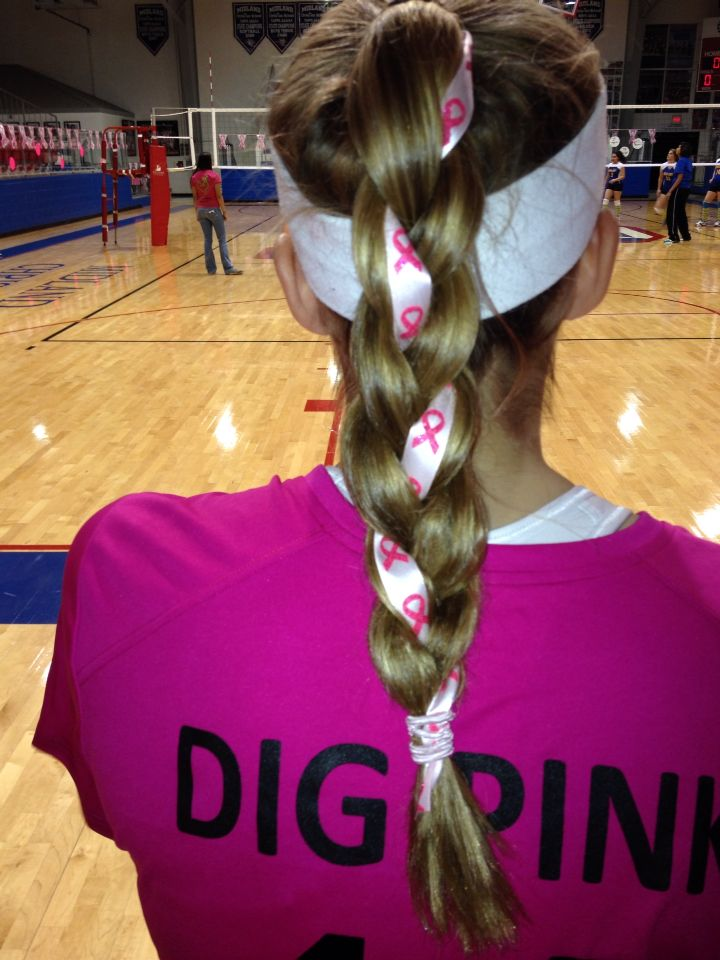 pink out volleyball game braid - I just tied the ribbon to the hair band and had my friend braid it in