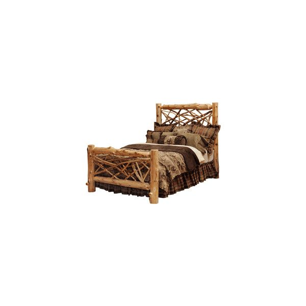 Twig Log Bed ($2,000) ❤ liked on Polyvore featuring home, furniture, beds, cama, rustic furniture, rustic log furniture, twig furniture, rustic twig furniture and lacquer furniture