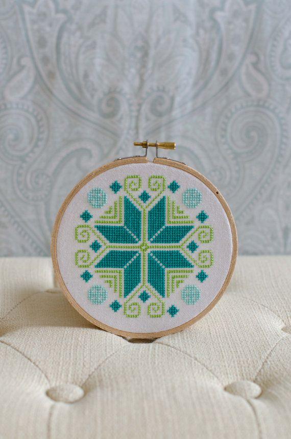 Cross Stitch Pattern PDF, Colorful Ornament