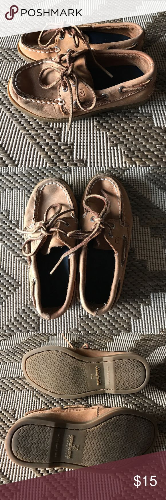 Toddler boys Sperrys! Gently used tan Sperry loafers. Don't pay full price when your kid will only wear them for one season! Sperry Shoes Moccasins