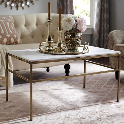 """Ethel Marble Top Coffee Table, reg 549.95, sale $399.98 -- """"Polished, white marble with subtle hints of gray sits atop a hand-forged, solid wrought iron frame that has been hand-hammered and given an antique brass finish."""""""