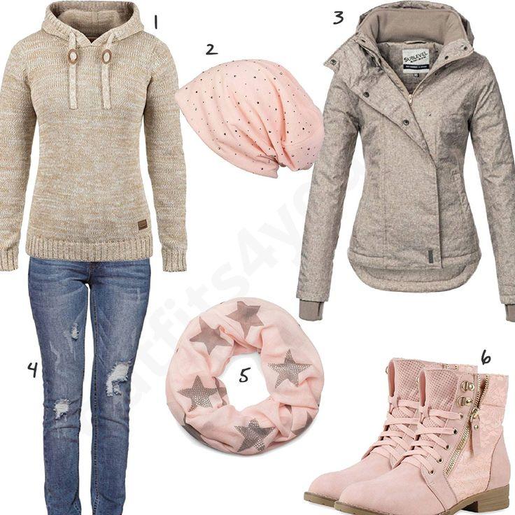 Rosa-Beiges Damen-Outfit im Herbst 2017 (w0616)