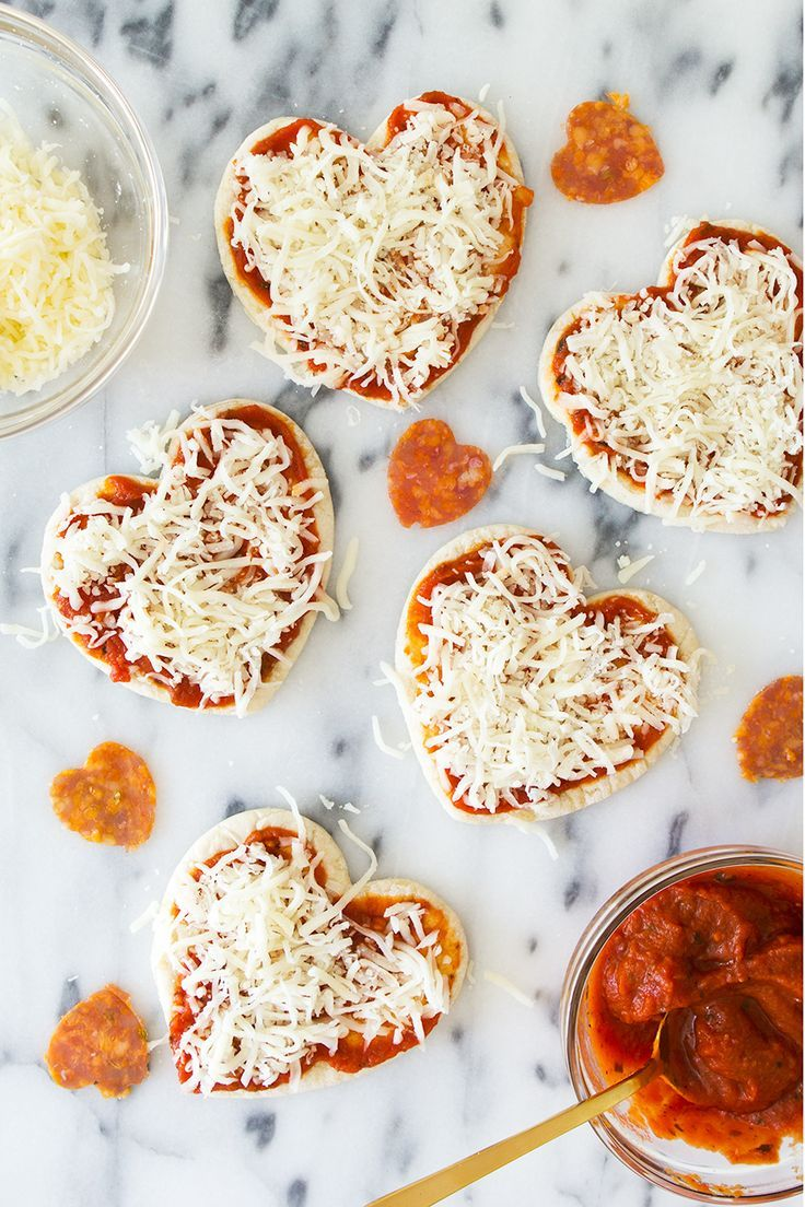 Homemade mini heart pizzas