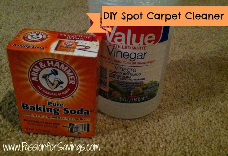 DIY Carpet Spot Cleaner - 4c. warm water, 1/2c vinegar, 2-3tbsp baking soda. Mix, let fizz a little, dip scrub brush into mixture and apply to spot til gone, vacuum when dry.