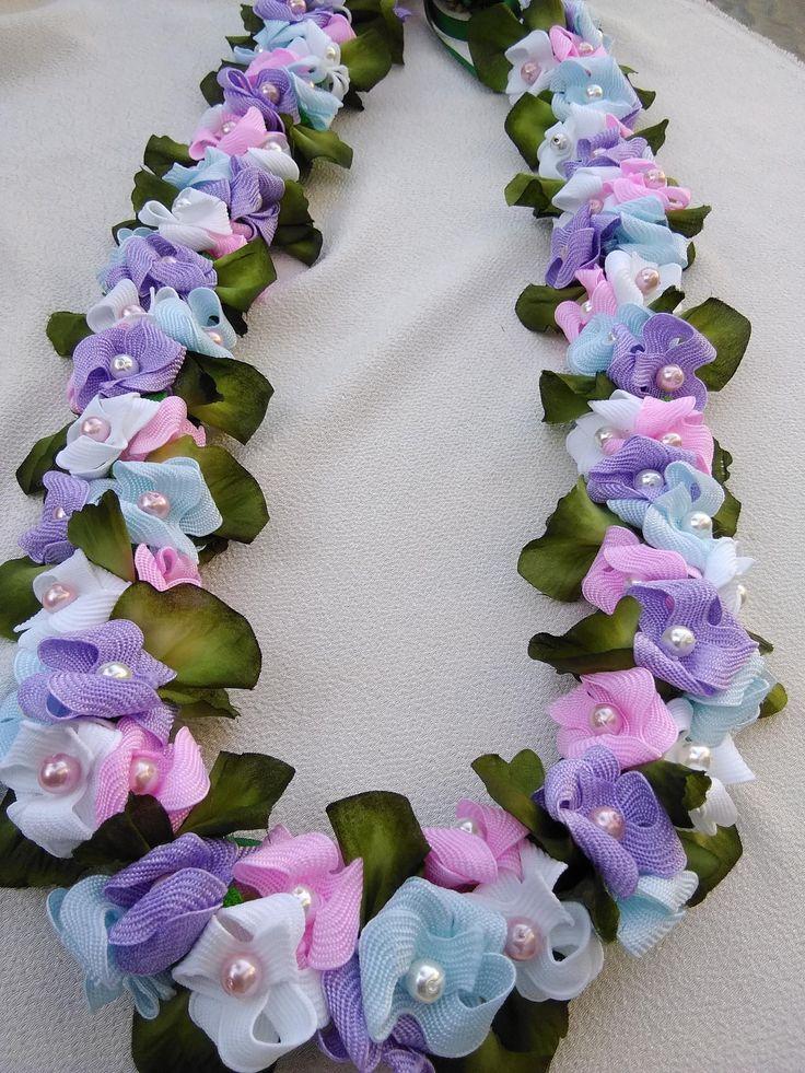 Hydrangea Hawaiian flat ribbon lei