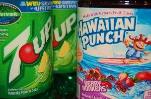 Purple punch-- 1 jug of Hawaiian Punch Berry Blue and 1 2 litre of 7-up