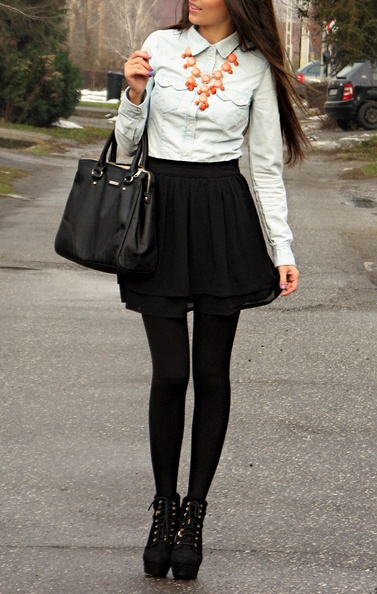 Chambray Shirt, Black Skater Skirt, Black Tights, Black Booties, Pink Bubble Necklace