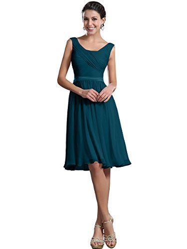 Remedios Chiffon Brautjungfernkleider A-Linie Kurz Knielangen Kleid Hochzeit,#66 Tintenblau,38