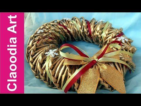 Jak zrobić wianek z papierowej wikliny? [wreath, paper wicker] (Claoodia Art) - YouTube