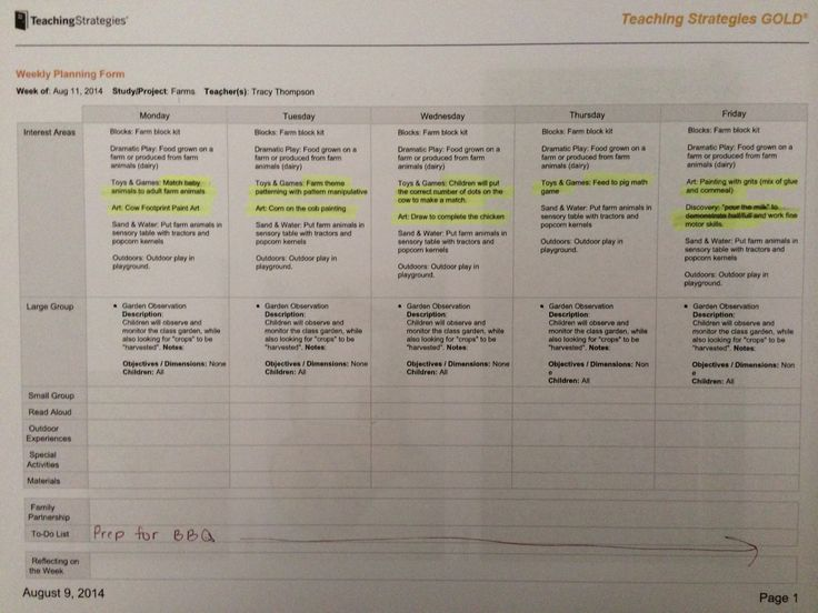 a sample of one of my tsg lesson plans for the week With teaching strategies gold lesson plan template
