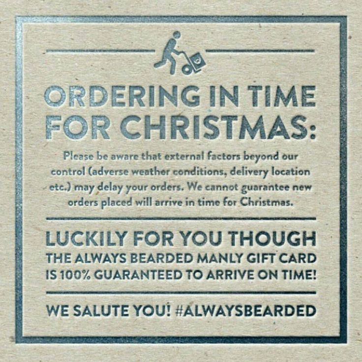 Unfortunately due to the high volume of orders we can no longer guarantee orders will arrive in time for Christmas.  With that said you can still get him the gift of a better beard with our manly gift cards. Delivered immediately following purchase to your email simply print it out and include it with a card - it'll be the best gift he gets. Visit Alwaysbearded.com today. #alwaysbearded -- #beards #mensfashion #beardyland #beardlife #beardgang #beardoil #beards #beardsofinstagram…