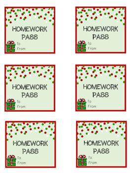Homework passes make great student Christmas gifts! FREEBIE