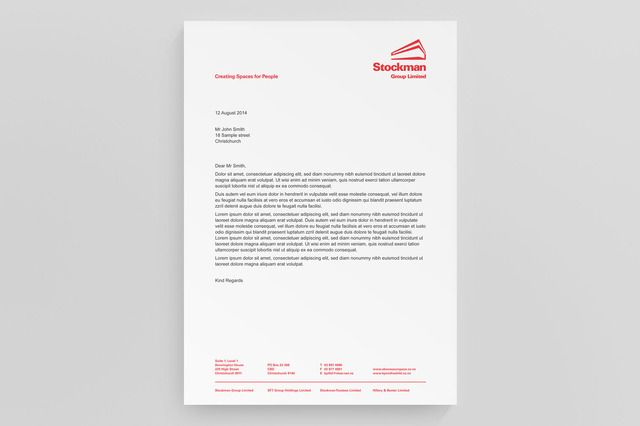 Stockman Group letterhead graphic design by Robertson Creative, Christchurch, New Zealand.
