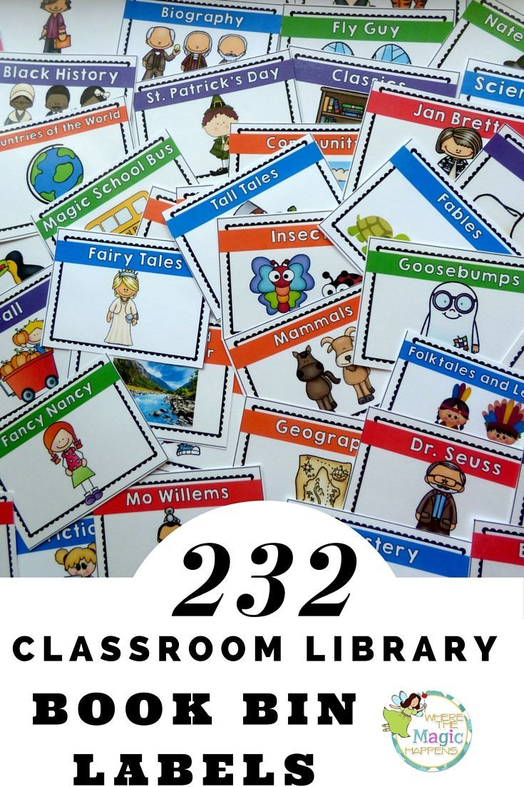 Organize your classroom library with these 232 colorful and engaging labels! Each classroom library label - book bin label is 5 x 3.5 inches. These classroom library nook bin labels allow you to arrange your classroom library system by author, favorite series, topics of interest, content area, genres, and a leveling system. This pack also contains smaller labels that can be printed onto sticker or label sheets and placed directly onto the book.