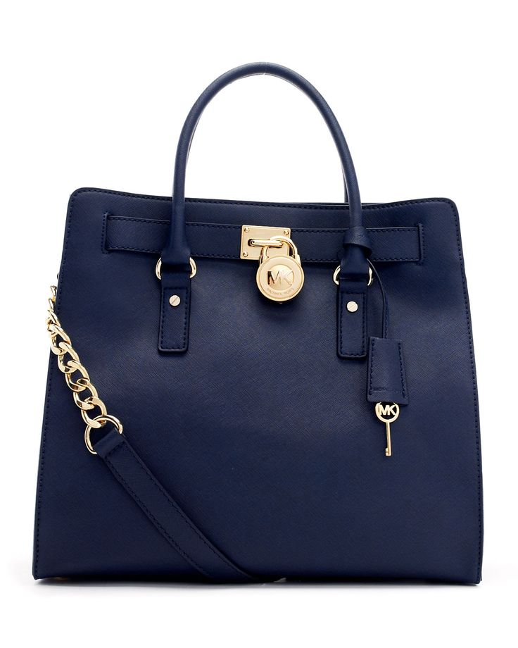 MAGIC OF BLUE BAGS.BOARD BY MARIA FANO - mariafano.com -Michael Michael Kors Large Hamilton Saffiano Tote Bag in Blue (navy)