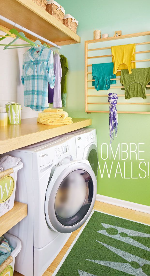 Tribal Times - Home - Ombre Walls love the colors.. this is also such a cute laundry room idea.. love the drying rack for tanks, etc.