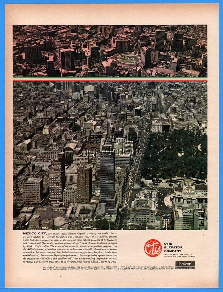 1960 Otis Elevator Company Mexico City Aztec Empire Capital magazine Print Ad