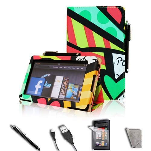 """#nice FINTIE� Green Graffiti Style PU Leather Folio Case Cover Value Package with Screen Protector/Stylus/USB cable for Amazon Kindle Fire 7"""" TabletS   - http://wp.me/p291tj-dZ"""