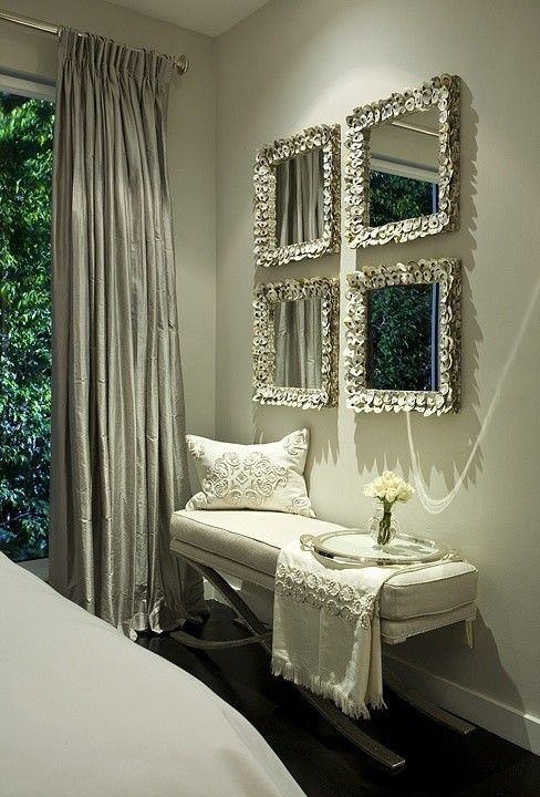 INTERIOR DESIGN. Lots of room ideas... mirror grid of sitting area in master BD, grey draperies, white bench
