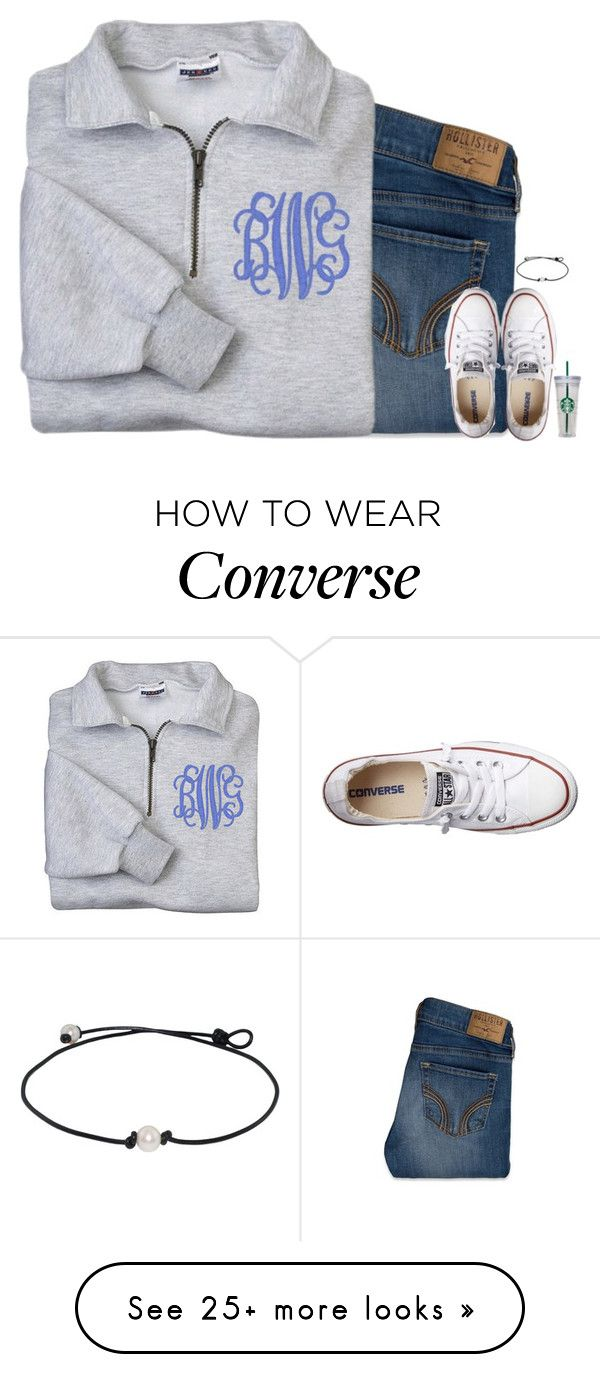 """""""When ur weekend plans get cancelled ☹️"""" by evieleet on Polyvore featuring Hollister Co. and Converse"""