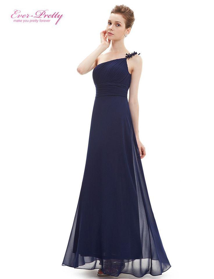 HE09596 Ever-Bonita de Um Ombro Vestido de noite Longo Flor Ruffles Chiffon Vestidos de Noite Formal